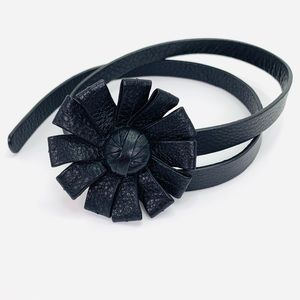 Cole Haan Black Pebbled Leather Belt with Flower
